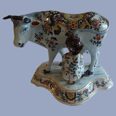 Marvelous 18th Antique Century Dutch Delft Cow Figurine with Milker