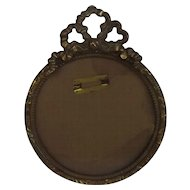 Antique Brass Picture Frame with French Bow Accent