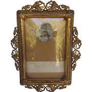 Wonderful Antique Picture Frame with Mermaid Accent and Wire Easel