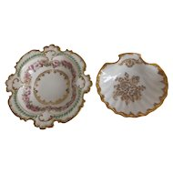 Two Limoges Dishes, One GOA with Pink Cabbage Roses, and One Shell Dish with Gold Gilt Trim