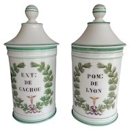 Pair of Antique Paris Porcelain Apothecary Jars with Green Trim