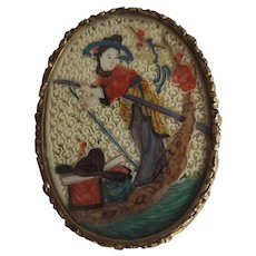 Exquisite Antique Vanity Mirror with Eglomise Chinoiserie Scene and Ornate Gilded Edge