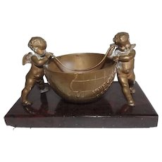 Most Darling Antique Bronze Pair of Putti Cherubs with the World