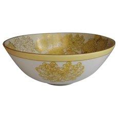 Vintage Japanese Chrysanthemum Bowl with Yellow Flowers