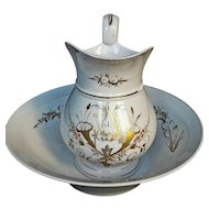 19th C. Paris Porcelain Pitcher & Basin