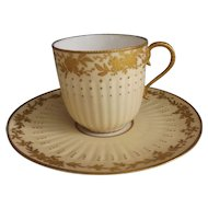 Limoges Cup & Saucer with Raised Gilt Design...Made For Osler of London