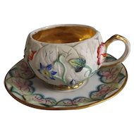 Lovely Antique Cup & Saucer with Raised Bisque Floral and Leaf Design