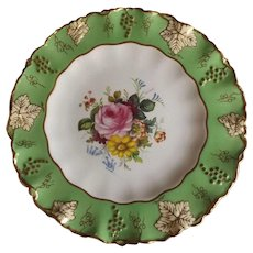 Royal Crown Derby Green Vines Plate with Hand Painted Flowers and Ruffled Edge