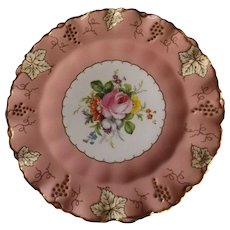 Royal Crown Derby Vines Plate with Pink Trim and Hand Painted Flowers