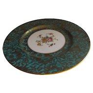 "Minton English 8"" Plate in the Brocade Pattern, Aqua"
