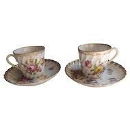 Pair of Antique Dresden Cups and Saucers Marked Grossbaum & Sons, c. 1890's