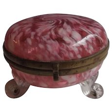 Antique Victorian Cranberry Spatter Glass Trinket Dresser Box with Applied Feet & Brass Fittings