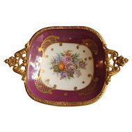 Porcelain Pin Dish with Ornate Ormolu Trim