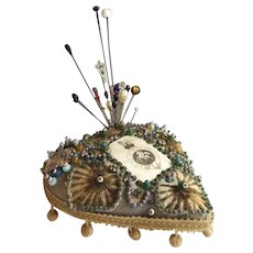 Antique Native American Heart Shaped Pincushion with Hatpins