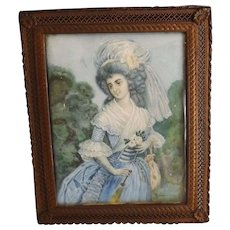 Charming Antique Miniature Watercolor Signed Lawrence