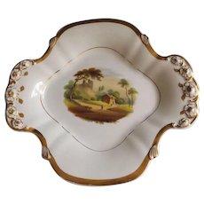 Old Paris Porcelain Hand Painted Dish with Landscape Scene