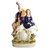 Large Antique Staffordshire English Pottery Figurine, Scottish Couple with Bagpipes & Clock