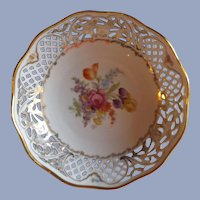 """Dresden Schumann Floral Sprays 8"""" Bowl with Hand Painted Flowers"""