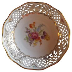 "Dresden Schumann Floral Sprays 8"" Bowl with Hand Painted Flowers"