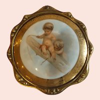 Antique 19th Framed Porcelain Plaque with Putti