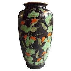 "14"" High Hong Kong Japanese Porcelain Vase with Nasturtium Decoration"