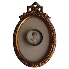 Antique Miniature Portrait of Josephine in Oval Frame with French Bow Accent