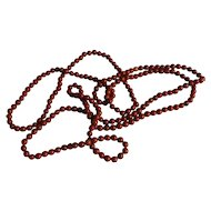 "Lovely Deep Rust Red Coral Necklace 34"" Long"