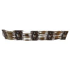 """Vintage Mexico Sterling Silver Link Bracelet 7.5"""" Long"""