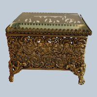 Antique Filigree Brass Jewelry Casket