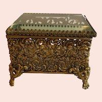 Antique Filigree Brass Jewelry Casket
