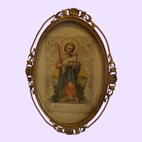 Antique Brass Easel Picture Frame with Religious Card Inside