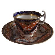 Early 19th Century English Imari Pattern Coffee Cup and Saucer, London Shape