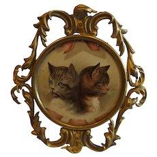 Antique Brass Easel Frame with Kitten Print Inside