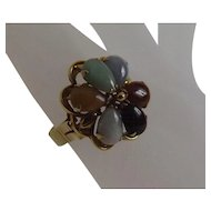 Marked 585 14 Karat Gold Ladies' Cabochon Ring with Polished Stones Size 6.5
