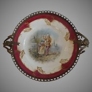 Exquisite 19th C. Hand Painted French Plate in Ornate Ormolu Frame