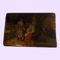 Antique Paper Mache Dresser Box with Hand Painted Fairy Tale Lid