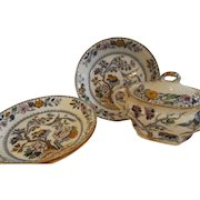 Group of English Ashworth Chinoiserie Pottery with Covered Sugar & 3 Bowls