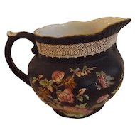 Adams English Milk Jug with Black Chinoiserie Decoration