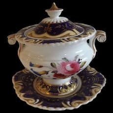 Early 19th Century English Covered Sauce Tureen with Under Plate