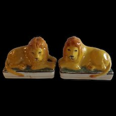 Pair of Great Antique English Mustard Yellow Staffordshire Lions