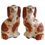 Pair of Antique English Staffordshire Spaniels Rust and White