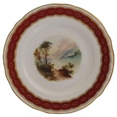 Beautiful Antique English Plate with Hand Painted Landscape Scene and Beaded Accent