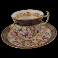 3 19th Century English Cups & Saucers with Stunning Hand Painted Flowers