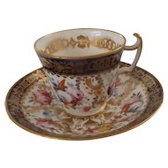 Three 19th Century English Cups & Saucers with Stunning Hand Painted Flowers
