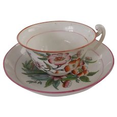 19th Century English Cup and Saucer with Hand Painted Decoration, Pattern 57