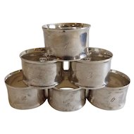 Set of 6 Watson Sterling Silver Napkin Rings, Engraved with Numbers 1 through 6!
