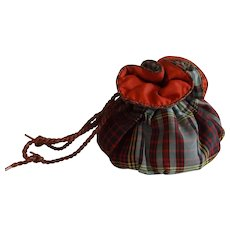 Sweet Vintage Tartan Plaid Drawstring Pouch