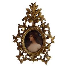 Marvelous Miniature Portrait on Porcelain in a Gorgeous Ornate Frame