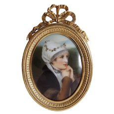 Lovely Miniature Portrait on Porcelain in Pretty Gilt Frame with Bow Flourish - Red Tag Sale Item