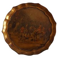 Vintage Round Wood Serving Tray with English Hunt Scene Decoration